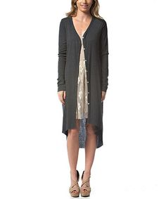 Love this Charcoal Lace-Back Duster on #zulily! #zulilyfinds