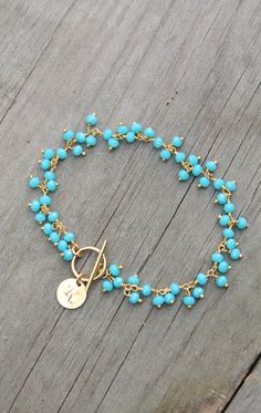 Turquoise bead bracelet, beaded gemstone, custom stamped personalized initial circle disc, customized monogram, gold filled – Willkommen in meiner Welt Wire Jewelry, Beaded Jewelry, Jewelry Bracelets, Jewelery, Handmade Jewelry, Handmade Wire, Silver Bracelets, Jewelry Findings, Stackable Bracelets