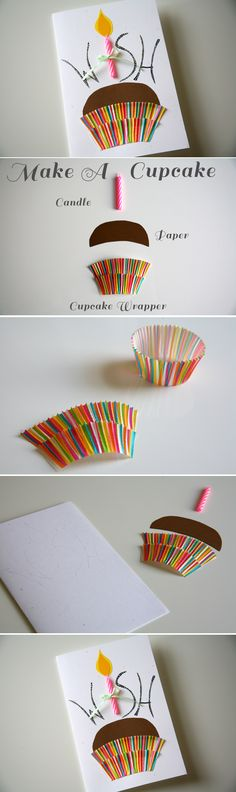 Clever handmade cupcake birthday card using an actual paper cupcake holder and candle.                                                                                                                                                     More