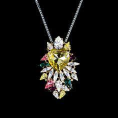 Anton Heunis 'Les Demoiselles' Lemon Vintage Heart Crystal Cluster Pendant Necklace (MDS1.08) | Alexandra May Jewellery
