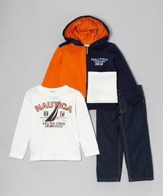 495bfa92b9bc0 Orange  Sailing Crew  Zip-Up Hoodie Set - Toddler   Boys
