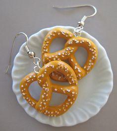 Mini Food Jewelry  Salted Pretzel Earrings  Surgical by Artwonders, $10.00