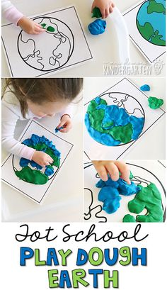 This Earth play dough activity was great fine motor practice. Perfect for an Earth Day theme in tot school, preschool, or the kindergarten classroom. #earthdayactivties