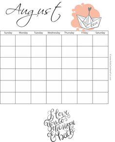 month of august calendar