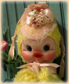 Vintage Rushton Yellow Duck Musical Plush Doll with Rubber Vinyl Face, Easter