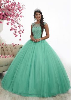 Embellished Cap Sleeve Quinceanera Dress by Fiesta Gowns of Wu Fiesta Gowns-ABC Fashion Xv Dresses, Quince Dresses, Ball Dresses, Ball Gowns, Fashion Dresses, Prom Dresses, Dresses With Sleeves, Formal Dresses, Wedding Dresses