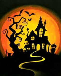 Social Artworking Canvas Painting Design - Hilltop Haunt Trick-or-treaters might be a little hesitant to knock on the door of this creepy mansion. With its resident bats flying around and its own cemetery, it doesn't seem welcoming to visitors. Casa Halloween, Halloween Designs, Halloween Rocks, Halloween Tags, Halloween Haunted Houses, Holidays Halloween, Vintage Halloween, Halloween Crafts, Halloween Decorations