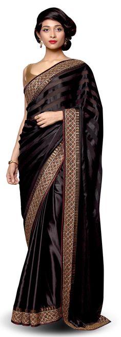 Black satin saree - SAREES - WOMEN'S WEAR