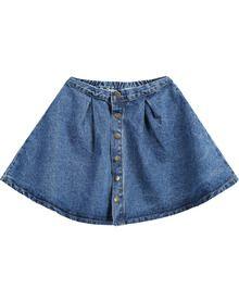 Blue Buttons Flare Denim Skirt US$15.17