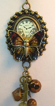 Upcycled Vintage Steampunk Butterfly Necklace  | TimelessDesigns - Jewelry on ArtFire