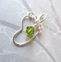Baby Foot Pendant Wire Wrapped Silver Swarovski Crystal Birthstone