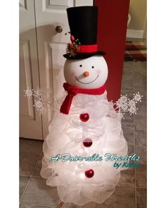Standing Deco Mesh Snowman | CraftOutlet.com Photo Contest - A Door-able Wreaths by Karen