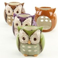 """4"""" OWL T-LITE HOLDER - Cute owl candles with tealights in purple, brown, green, and orange! #owls"""