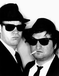 Blues Brothers with Two Men posed in Black Suits Premium Art Print