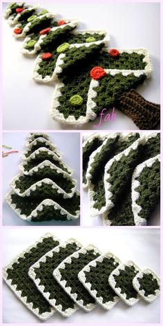 Vintage Granny Square Christmas Tree Free Crochet Pattern-VIf you're going to have a few beverages, why not have crochet can cozy's around the cans to prevent your hands from getting cold and wet.zielona choinka na Stylowi.By Celina Crochet & Arts. Crochet Christmas Decorations, Christmas Tree Pattern, Crochet Christmas Ornaments, Christmas Crochet Patterns, Holiday Crochet, Christmas Knitting, Christmas Crafts, Vintage Christmas, Christmas Afghan