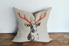 Printed Deer Head Linen Pillow Covers on BourbonandBoots.com