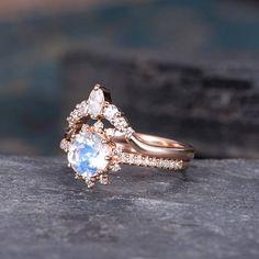 Moonstone Engagement Ring 18k Gold Moonstone Wedding Ring Antique