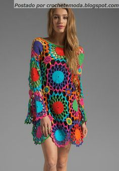 Crochetemoda: Vestido de Crochet Colorido Could be done in a quieter color pallette.
