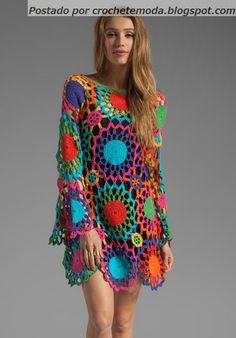 Crochetemoda: Vestido de Crochet Colorido Could be done in a quieter color pallette.
