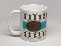 Personalized Coffee Mugs - Our Designer Series Mug with Buck Pattern $13.99