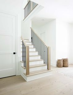 How to Match Solid Stair Treads to Prefinished Hardwood Flooring - Plank and Pillow - We've been in the new house now for about two months, so I thought I should update this article w - Stair Railing Design, Staircase Railings, Modern Staircase, Stair Treads, Modern Railings For Stairs, Traditional Staircase, Interior Staircase, Railing Ideas, Stairs Architecture