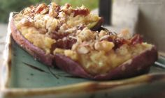 Twice-Baked Japanese Sweet Potatoes with Chopped Walnuts & Dates, then drizzled with Raw Honey via The Rising Spoon Blog. Leave out the goat cheese to make it vegan! :) #healthy #recipes #sweetpotato