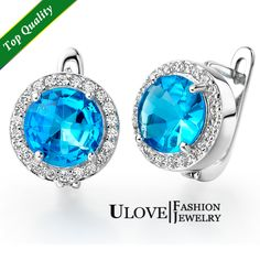 Find More Clip Earrings Information about Crystal Jewelry Ocean Blue Round Zircon Clip Earrings with Topaz Silver Plated White Gold Plated Micro Pave 9mm R143,High Quality silver leopard,China silver wrap Suppliers, Cheap silver swan from ULOVE Fashion Jewelry on Aliexpress.com