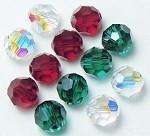 Swarovski Crystal Round Beads - 5000-6-mix-holi Swarovski 6mm Round Bead Mix (04) - Holiday Colors (Package Of 12 Beads)
