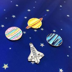 PRE-ORDER LISTING!  This listing is for a super cool candy colored planet enamel pin, perfect to decorate the lapel of your favorite jacket or