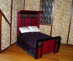 Tudor Bed Dollhouse Miniature 1/12 scale Half by CalicoJewels, $146.00