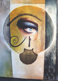 #cleopatra, #Aquarell auf #Holz mit #Collage, 2006 #Auge #Horusauge