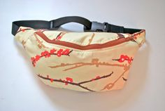 Bumbag Fannypack  birds cotton fabric rust ykk by beksiesboutique