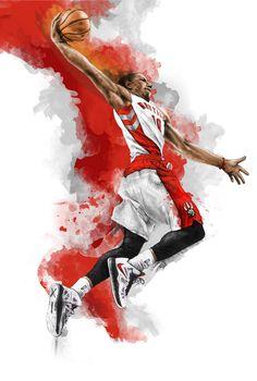 Demar Derozan of the Toronto Raptors illustration poster art Basketball Clipart, Basketball Posters, Basketball Art, Basketball Leagues, Basketball Pictures, Basketball Season, Street Basketball, Basketball Floor, Basketball Birthday
