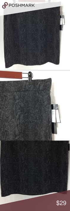 """Nicole Miller Black with Gray Stretch Pencil Skirt Nicole Miller Black with Gray Abstract Print Ponte Knit Stretch Pencil Skirt Black ponte knit material with a lovely gray all over abstract print.  Easy pull on style.  Straight hem. Back kick vent that has been basted close by manufacturer.    Brand New with Tags  Women's Size XXL Waist - 40"""" Waist to Hem - 21"""" Nicole Miller Skirts Pencil"""