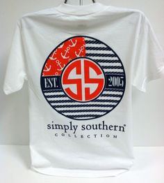 NEW Simply Southern Preppy Tee Shirt Collection SMALL White Patriotic Flag #SimplySouthernTees #ShortSleeve
