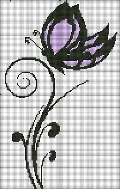 mariposa en pto de cruz