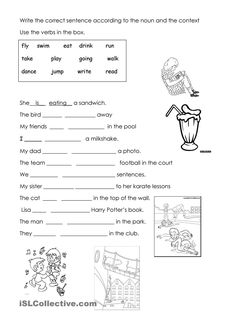 fill in the gaps exercise. Grammar: Present continuous (progressive) tense English Grammar Test, English Grammar Worksheets, Teaching Grammar, Spelling And Grammar, Teaching Babies, English Activities, Learning English, Science For Kids, Esl
