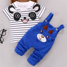 Cute Bear Pattern Striped T-Shirt + Suspender Shorts Twinset For Boys