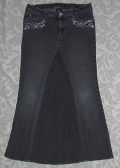 Girls Long Modest jean skirt size 14 Charcoal by EastCoastSkirts, $12.50