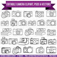 Camera Clipart Clip Art Photography Logo Elements di PinkPueblo, $8.00