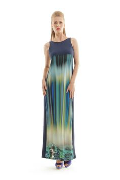 Max out your sophistication credentials this season in this stunning maxi dress from Conquista. Fabulously fluid as a waterfall with an eye-catching print, this Showroom, Blue Fabric, Summer Looks, Dress Making, Tie Dye Skirt, Cool Style, Formal Dresses, Maxi Dresses, Lady