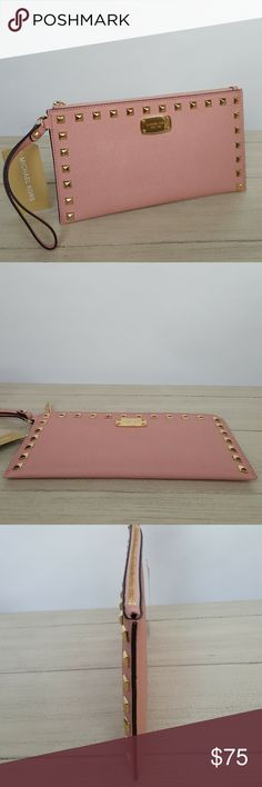 """Michael Kors Saffiano Studded zip clutch pale pink *Authentic *NWT *Style # 35S6GFSW1L *Saffiano stud zip clutch, wristlet *Pale pink color *Beautiful 100% saffiano leather *Studded front with a Michael Kors plaque *Gold-tone hardware *Top zipper closure *6"""" handle *Measurements: 5.5"""" H x 9.75"""" L x 0.2"""" D *1 big slip pocket and 6 credit card holder slots *UPC 190049402788  Please no trades, price is firm   Same day shipping if order is placed by 3 p.m. EST Monday-Friday Michael Kors Bags…"""