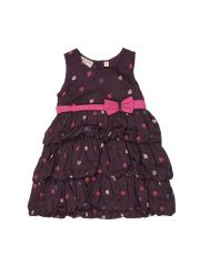 Happy Face Girls Purple Printed Fit & Flare Dress