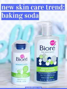 Baking soda is the new it-ingredient for skin care... especially for combo skin! Learn more about its benefits and the new Bioré Baking Soda Cleansers. | Slashed Beauty #BioreFizz #ad