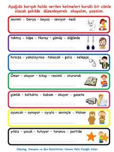 ODYOLOG, KONUŞMA ve SES BOZUKLUKLARI UZMANI PELİN KİŞİOĞLU KALAN: KURALLI Cümle Oluşturma- KademeLİ Learn Turkish, Child Development, Education, Learning, Children, Books, Young Children, Boys, Libros