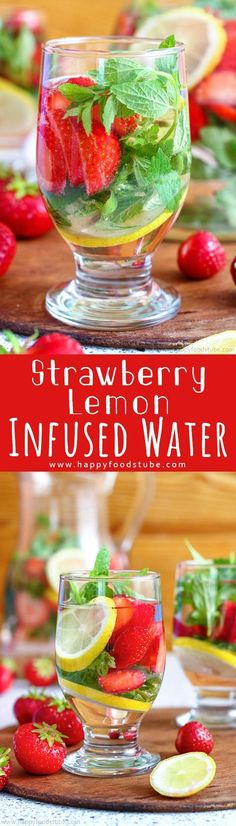 Strawberry Lemon Infused Water is a great drink for outdoor parties, barbecues or lazy pool days. Fresh strawberries, mint and lemon turn water into a tasty flavored drink. Healthy summer detox drinks recipe via Lemon Infused Water, Infused Water Recipes, Infused Waters, Healthy Smoothies, Healthy Drinks, Smoothie Recipes, Healthy Eating, Detox Recipes, Summer Recipes