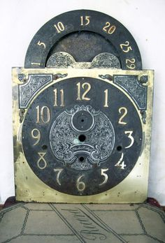 Vintage Brass Grandfather Clock Face
