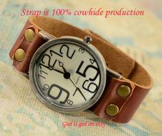 Big digital leisure watchPure leather strap retro by Godisgirl, $13.99
