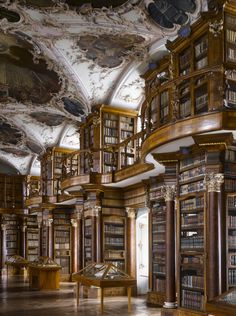 Abbey of St Gall Library, 1763. St Gallen, Switzerland. The library has manyforms of decoration, including putti in niches above the cases, representing the mechanical disciplines and the fine arts. (Photo by Will Pryce)