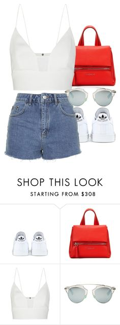 """""""Untitled #2662"""" by elenaday ❤ liked on Polyvore featuring adidas, Topshop, Givenchy, Narciso Rodriguez and Christian Dior"""